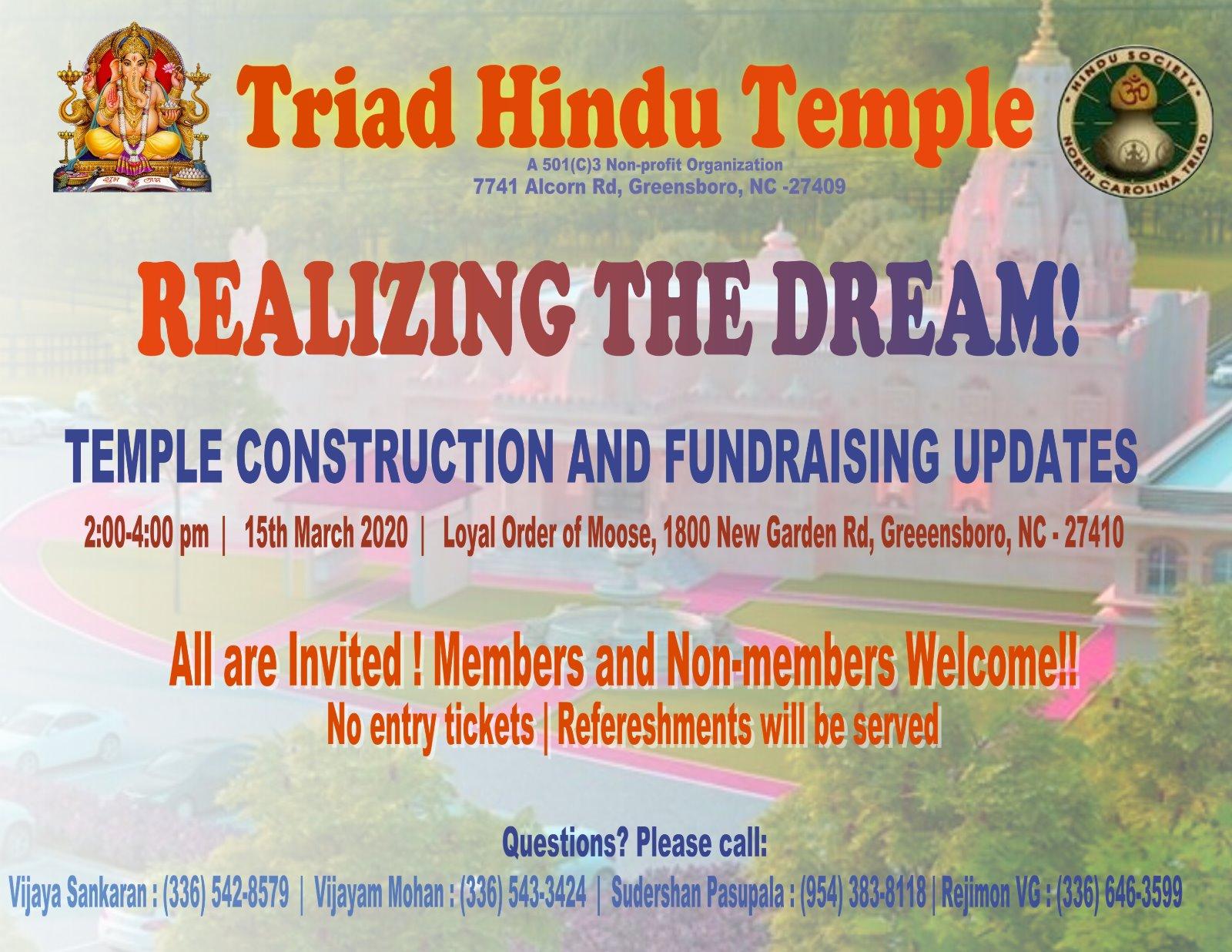 New Temple Information n Fundarising Update